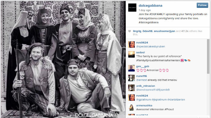 Dolce & Gabbana تنشر صورة عائلة أرمنية بأزياء تقليدية، والأذريون يعترضون