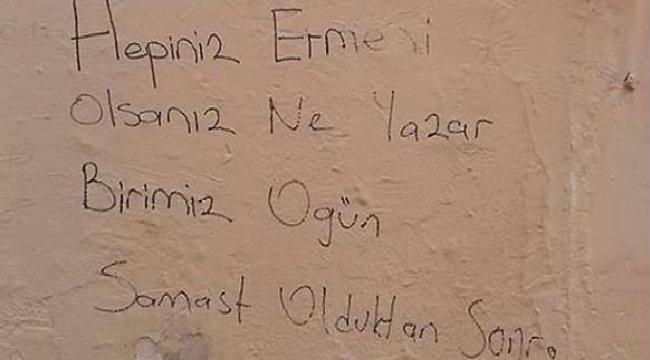 رسائل حقد وتهديد تركية على جدار كنيسة أرمنية في اسطنبول