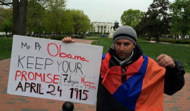 مواطن أمريكي أرمني يبدأ إضرابا عن الطعام أمام البيت الأبيض