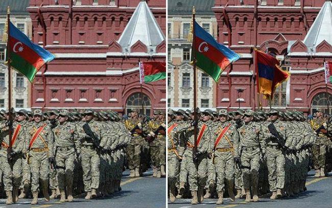 فوتوشوب الإعلام الأذربيجاني يخفي العلم الأرمني من احتفالات النصر