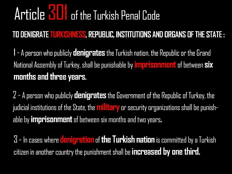 المادة 301 من الدستور التركي