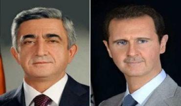 ساركيسيان يعزي الرئيس السوري بشهداء اللاذقية وطرطوس