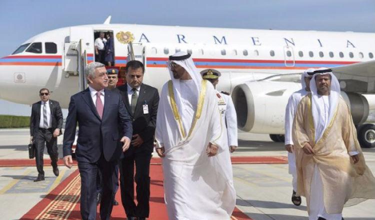 الرئيس ساركيسيان يصل الإمارات العربية المتحدة