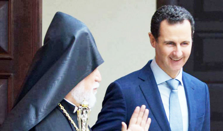 الأسد يستقبل الكاثوليكوس آرام الأول كيشيشيان