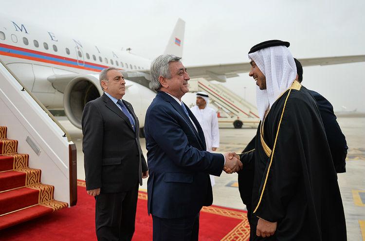ساركيسيان يصل الإمارات العربية المتحدة في زيارة عمل قصيرة