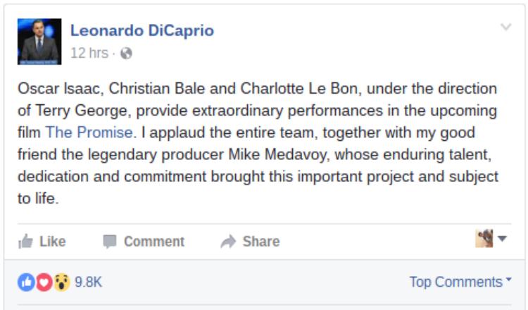 """دي كابريو يعرب عن إعجابه بفيلم الإبادة الأرمنية """"The Promise"""" الذي يعرض قريبا"""