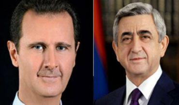 ساركيسيان يبعث برقية تهنئة للرئيس السوري بمناسبة عيد الجلاء