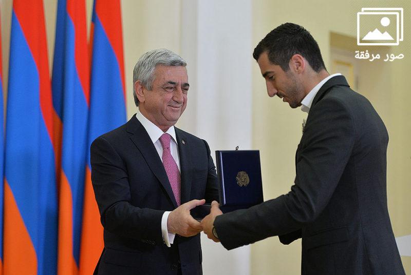 بالصور: ساركيسيان يكرم هينريك مخيتاريان في القصر الرئاسي