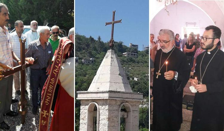 أرمن سوريا يعيدون تنصيب الصليب على قبة كنيستهم في الغنيمية