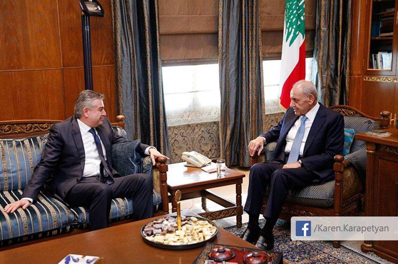 بري يلتقي رئيس وزراء أرمينيا كارين كاربيديان والوفد المرافق