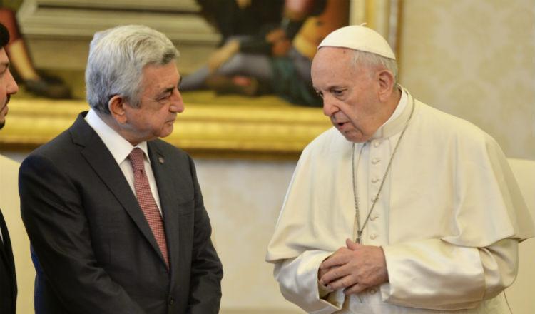 البابا فرنسيس يستقبل رئيس جمهورية أرمينيا