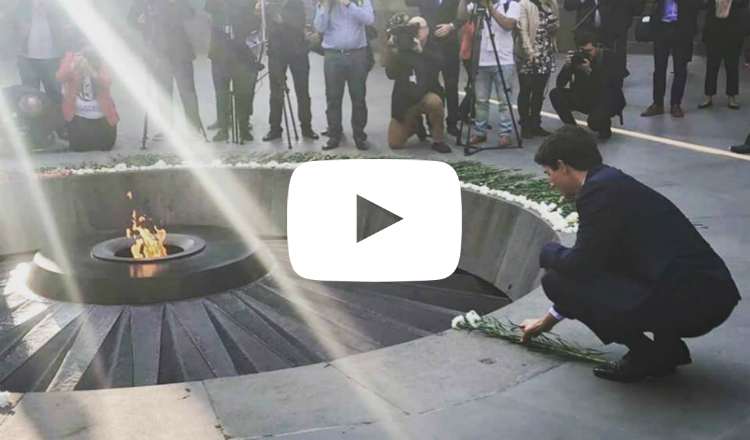 رئيس وزراء كندا جاستن ترودو يزور نصب شهداء الإبادة الأرمنية في يريفان