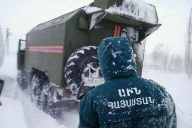 إنقاذ 55 راكب وإخراج 39 سيارة عالقة بسبب الثلوج في أرمينيا