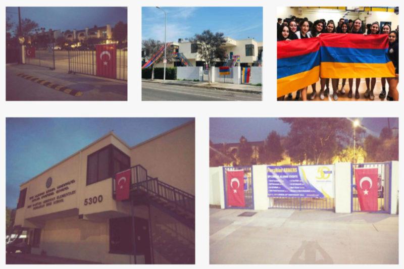 أرمن لوس أنجلوس يتفاجئون بأعلام الكيان التركي على مدارسهم صباح اليوم